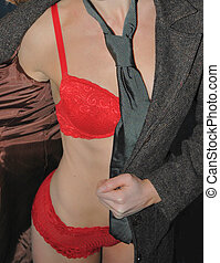Business Affair2 - sexy red lingerie under coat