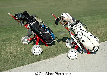 Golf Carts - Photographed golf carts at a local course in...