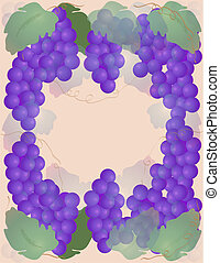 Grapes - Grape border around light peach colored background