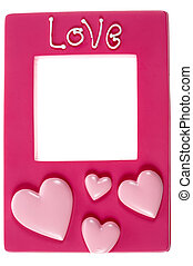 Pink photograph frame with the words love embossed on a...
