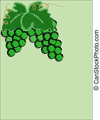 Grapes, green on light green background.
