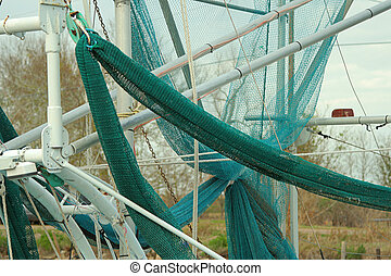 shrimp boat nets, Pointe-aux-Chenes, Louisiana