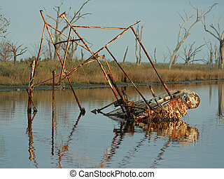 sunken shrimp boat, Pointe-auxu-Chenes, Louisiana
