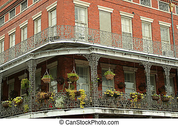 corner balcony - French Quarter architecture, New Orleans