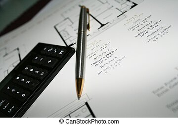 House Plans 5 - Pen and calculator on house plans