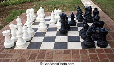 Outdoor Chess - An chess set embedded in concrete