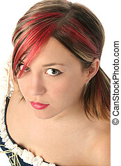 Colorful Hair Woman - Beautiful young woman with red,...