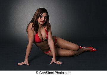 Girl in Red - Beautiful girl in lingerie