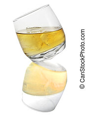 Whiskey Glass Isolated - Round-bottomed whiskey glass...