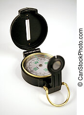 compass on white - Open compass set against a white...