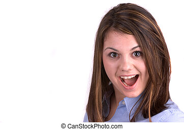 Surprise (Copy-Space) - Attractive Young Brunette Woman,...