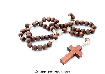 wooden rosary  on white