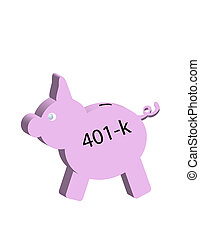 Finacial Pig - Pig with 401-k on side conceptual far saving...