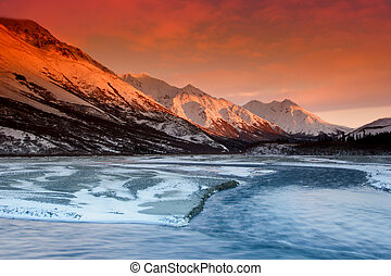 Sunset colors of the Alaska Range