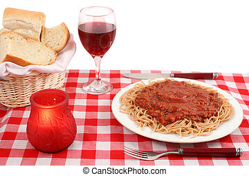 italian restaurant - Spaghetti plate and table setting