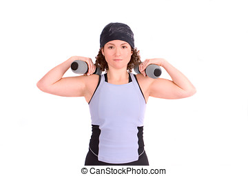 Biceps training - Attractive young woman excercising with...