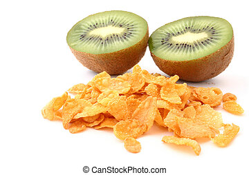 cornflakes with kiwi on white