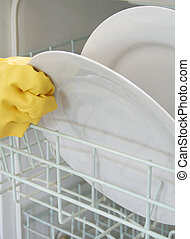 Dishwashing - Dishwasher, Rubber gloves and plates