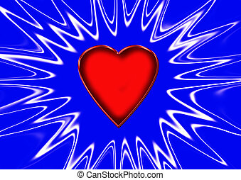 Love symbol - Red heart with blue background