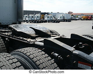Truck5 - Rear shot of a truck showing the fifth wheel and...