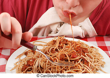 slurping pasta - young teen eating pasta