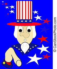 Uncle Sam with stars and stripes, illustration.