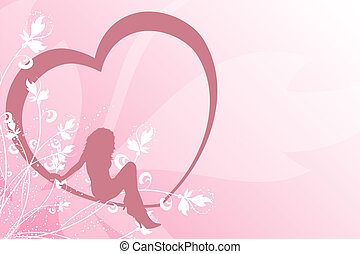 Female in heart - Pastel background of female sitting in a...