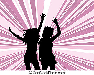 Sexy females dancing on retro background