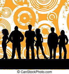 Young people - Group of young people on grunge background