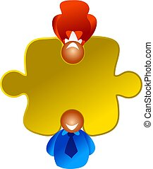 puzzle solvers - business people with their heads filling...