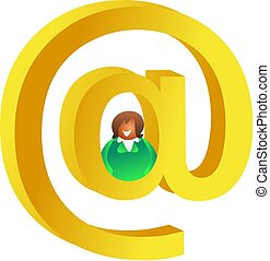 email me - woman sitting in the centre of a golden email...