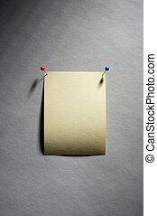 Noticesheet - Notizzettel - empty yellow noticesheet with...