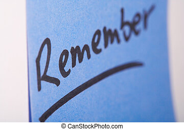 "Notizzettel- memo - Blauer Notizzettel ""Remember\""- blue..."