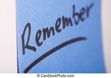 """Notizzettel- memo - Blauer Notizzettel \""""Remember\""""- blue..."""