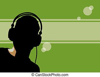 backlit dj - illustration of a backlit figure wearing...