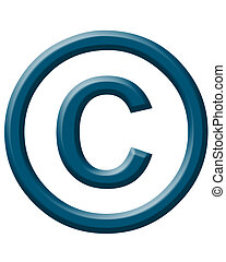 copyright symbol beveled in military blue