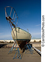 Boat, Dry Dock - Photo of a fishing boat in dry dock,...