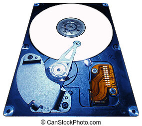 hard disc - opened hard disc in line perspective view