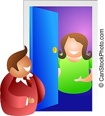 somebody at the door - woman opening the door to a visitor -...
