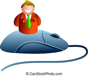 mouseman - business man sitting ontop of a computer mouse -...