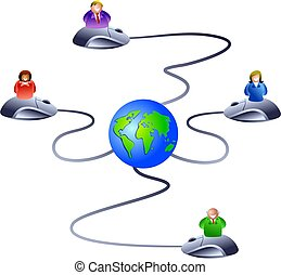 internet network - network of business people logging onto...