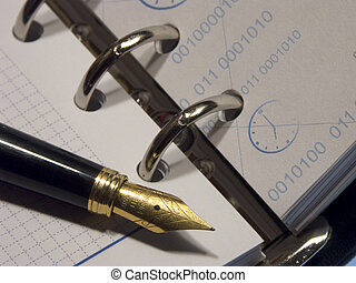 Business diary - The Business diary opened on a blank page...