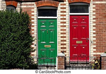 Red & Green front doors