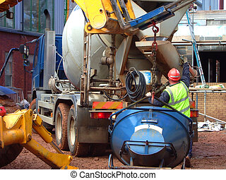 Concrete truck - concrete truck about to unload