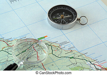 Map and Compass - Picture of a map, with compass and...