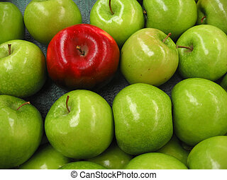 One Red Apple - One red apple among lots of green apples