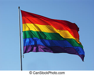 Rainbow Flag - Big rainbow flag in blue sky