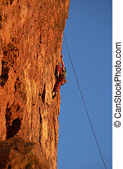 Rock Climber - Rock climber on the cliff of Pointe Dume in...