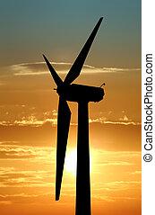 turbina, dramático, cielo, viento, contra