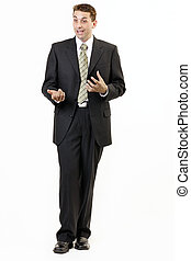 Businessman portrait 5, standing up and talking